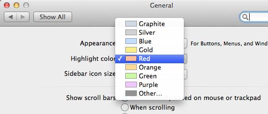 Highlight Color ändern